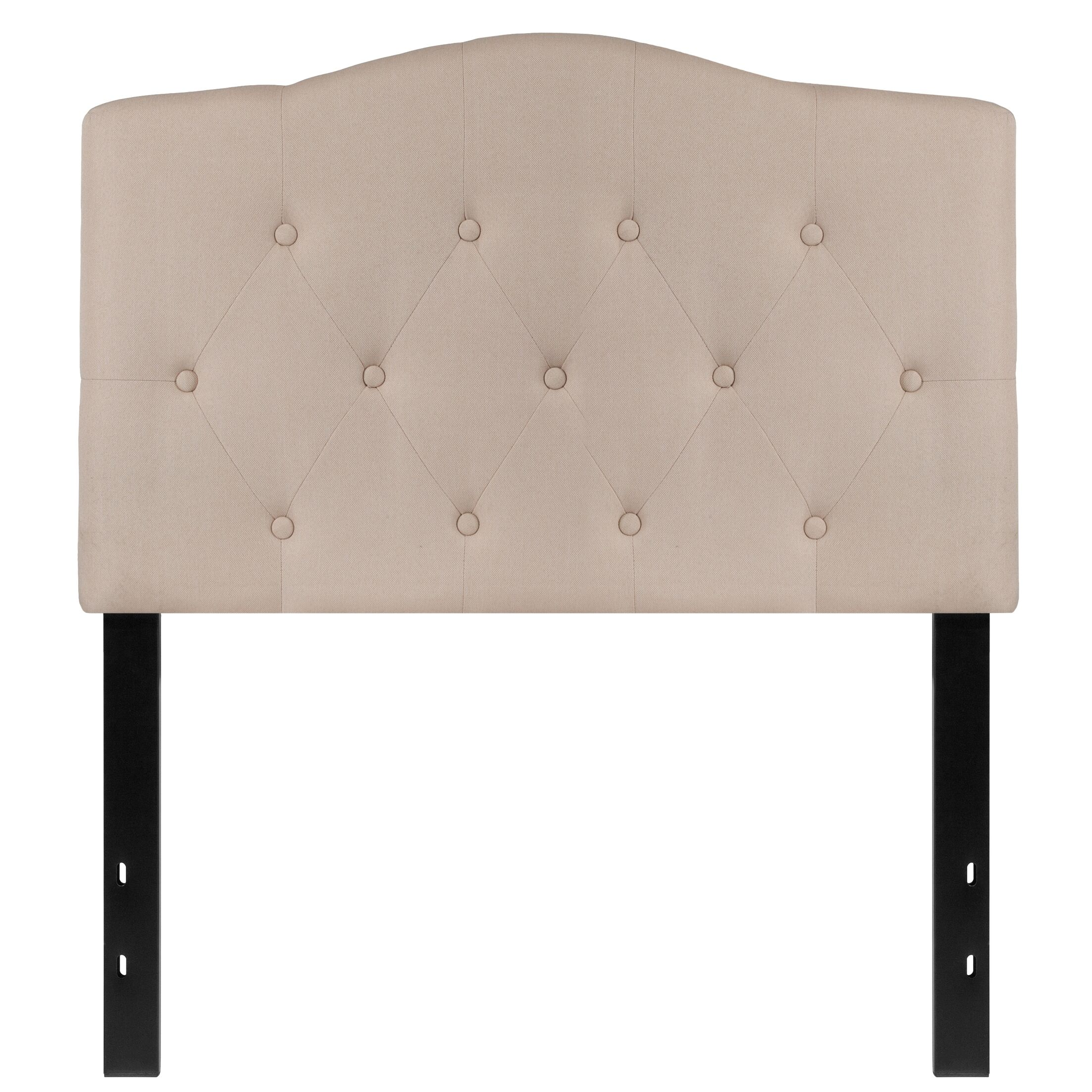 Fitz Cambridge Tufted Upholstered Panel Headboard Upholstery: Beige, Size: Queen