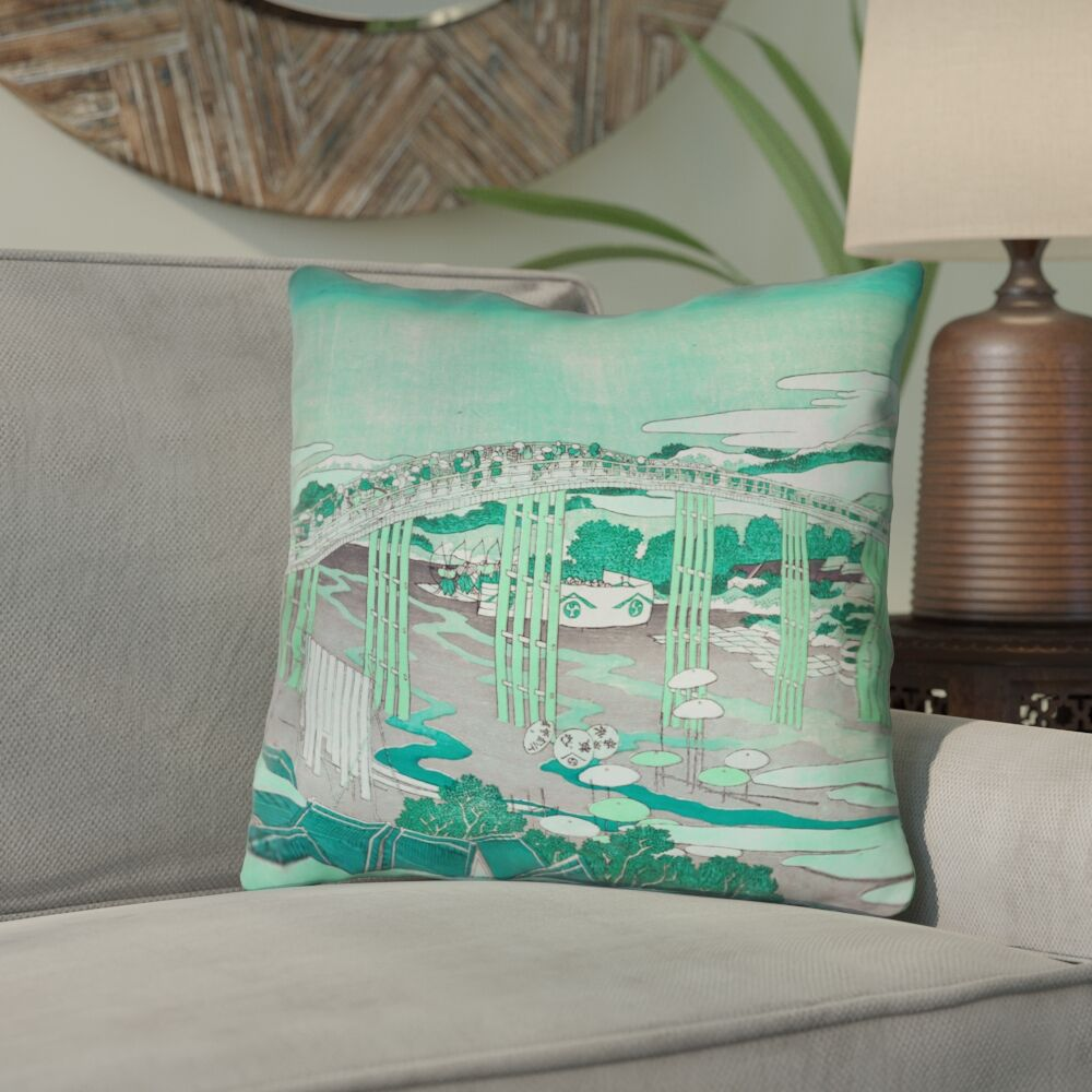 Enya Japanese Bridge Throw Pillow Size: 16