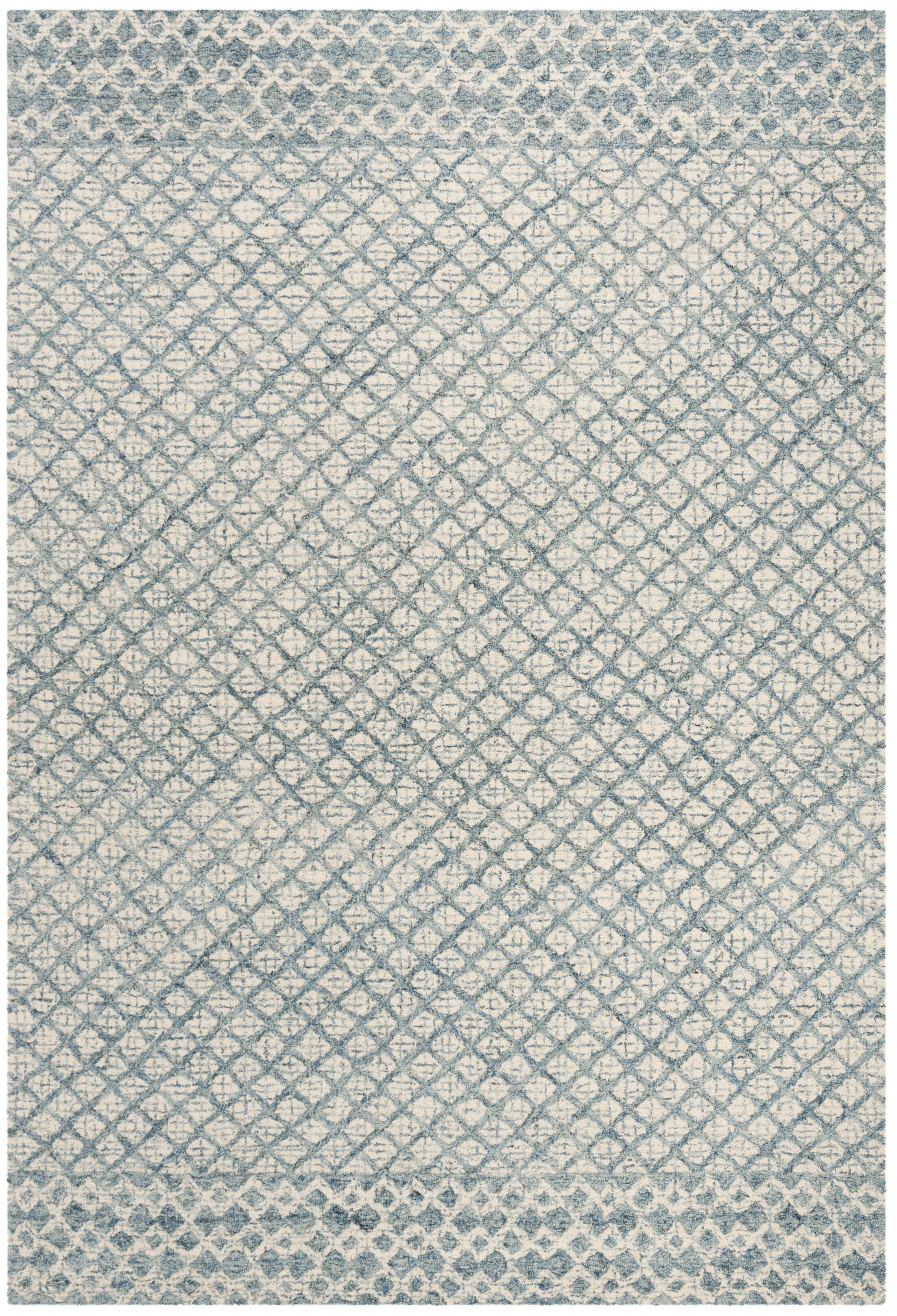 Costin Abstract Hand-Tufted Wool Blue/Ivory Area Rug Rug Size: Runner 2' 3
