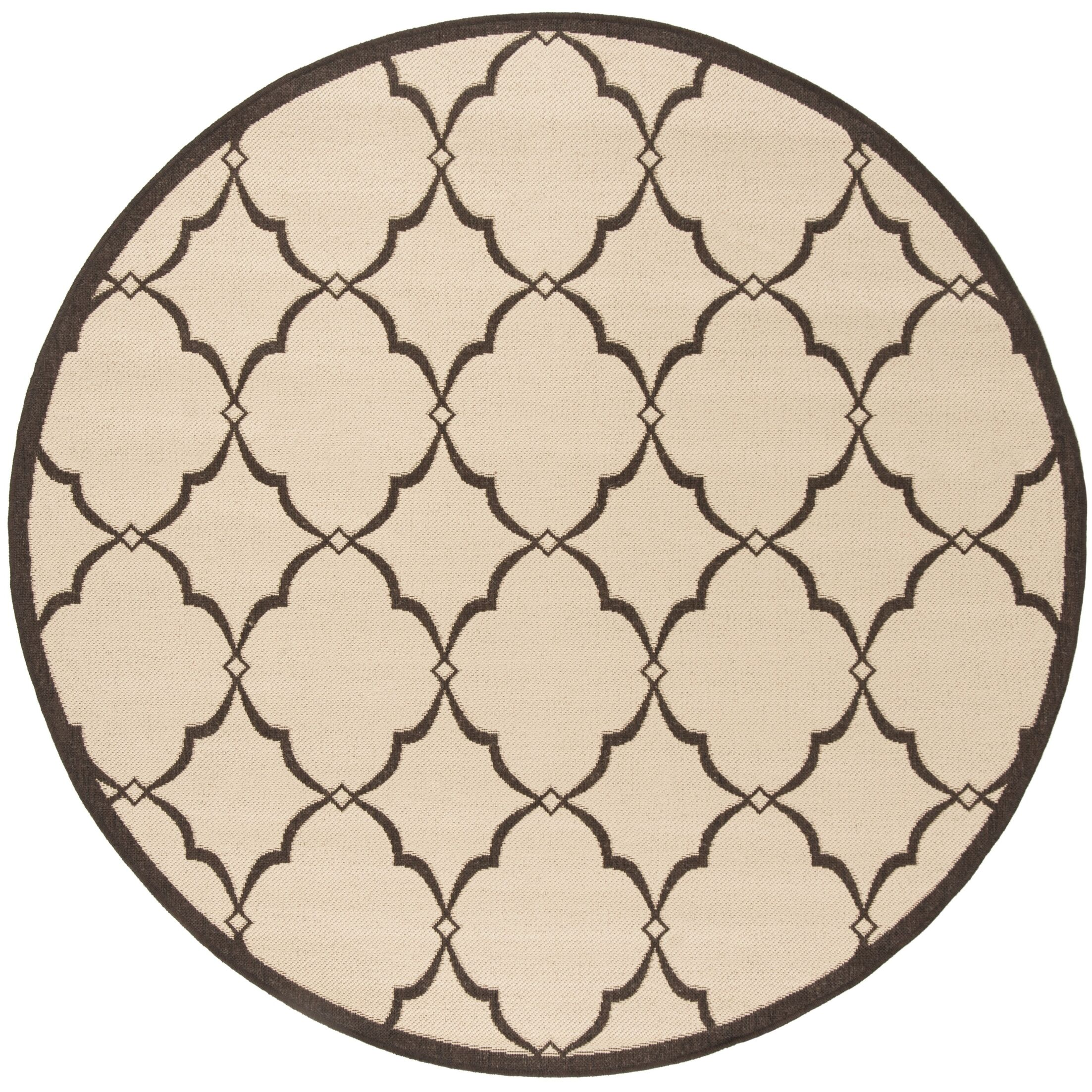 Croker Cream/Brown Area Rug Rug Size: Round 6'7