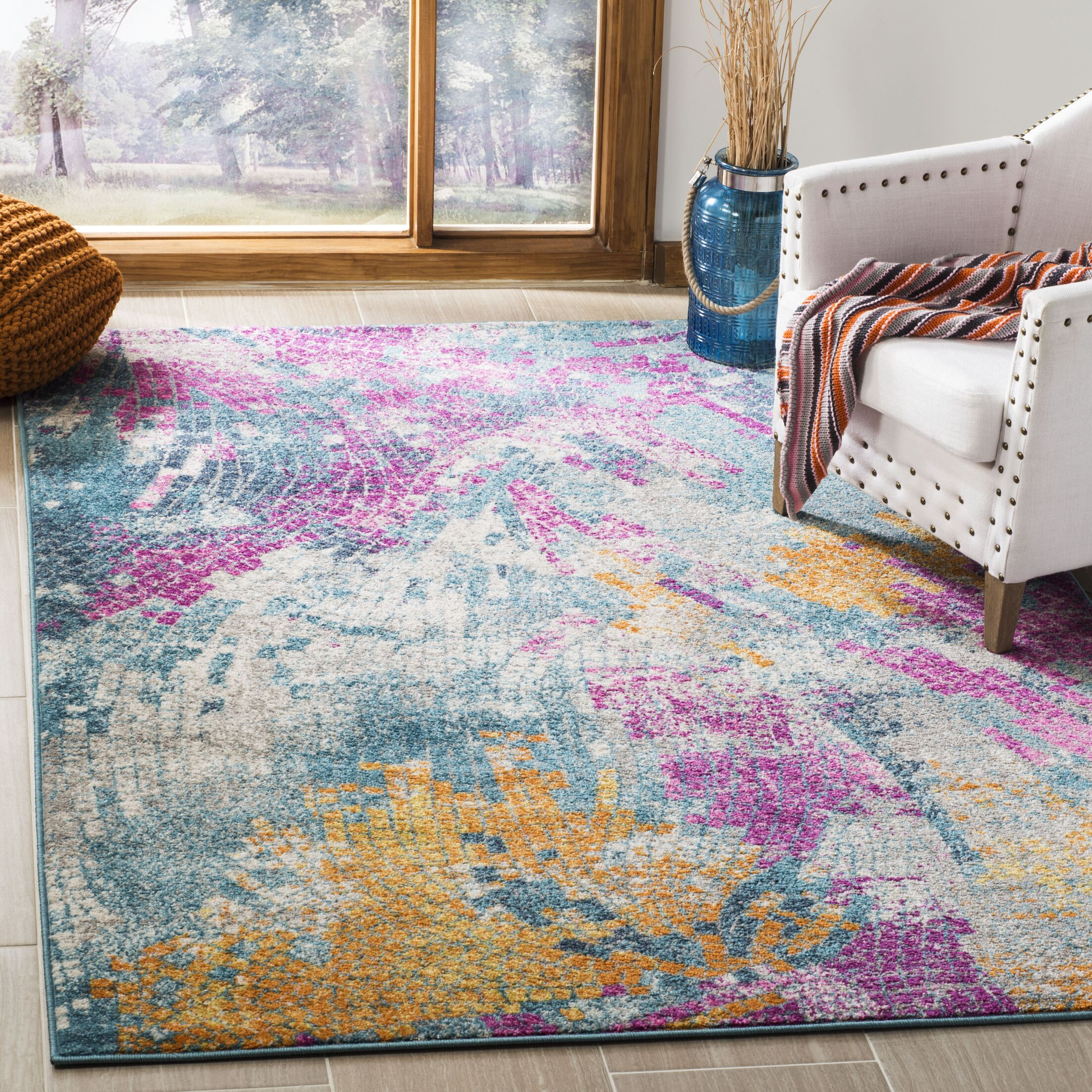 Doucette Blue/Yellow Area Rug Rug Size: Rectangle 8' x 10'