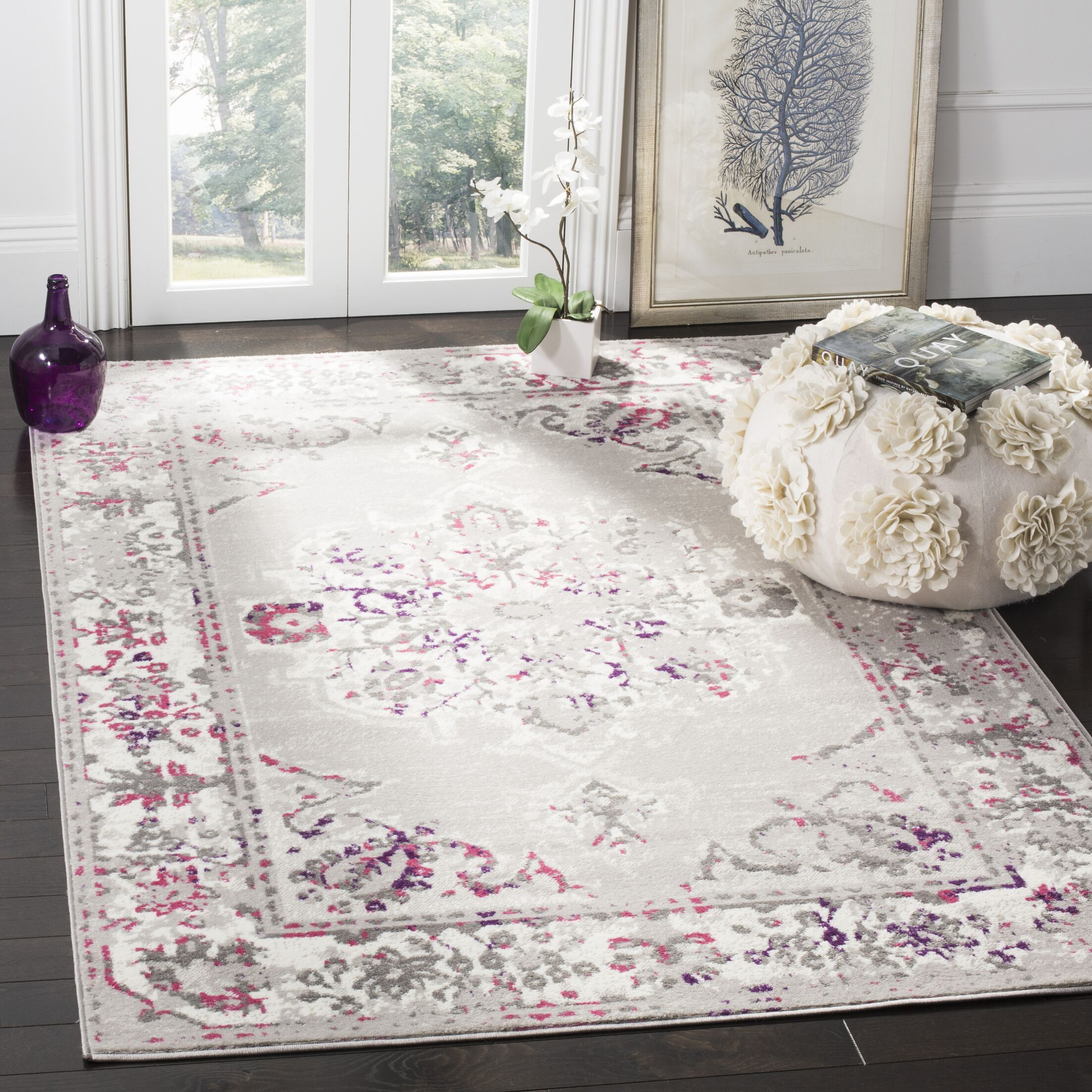 Doty Gray/Pink Area Rug Rug Size: Rectangle 6' x 9'