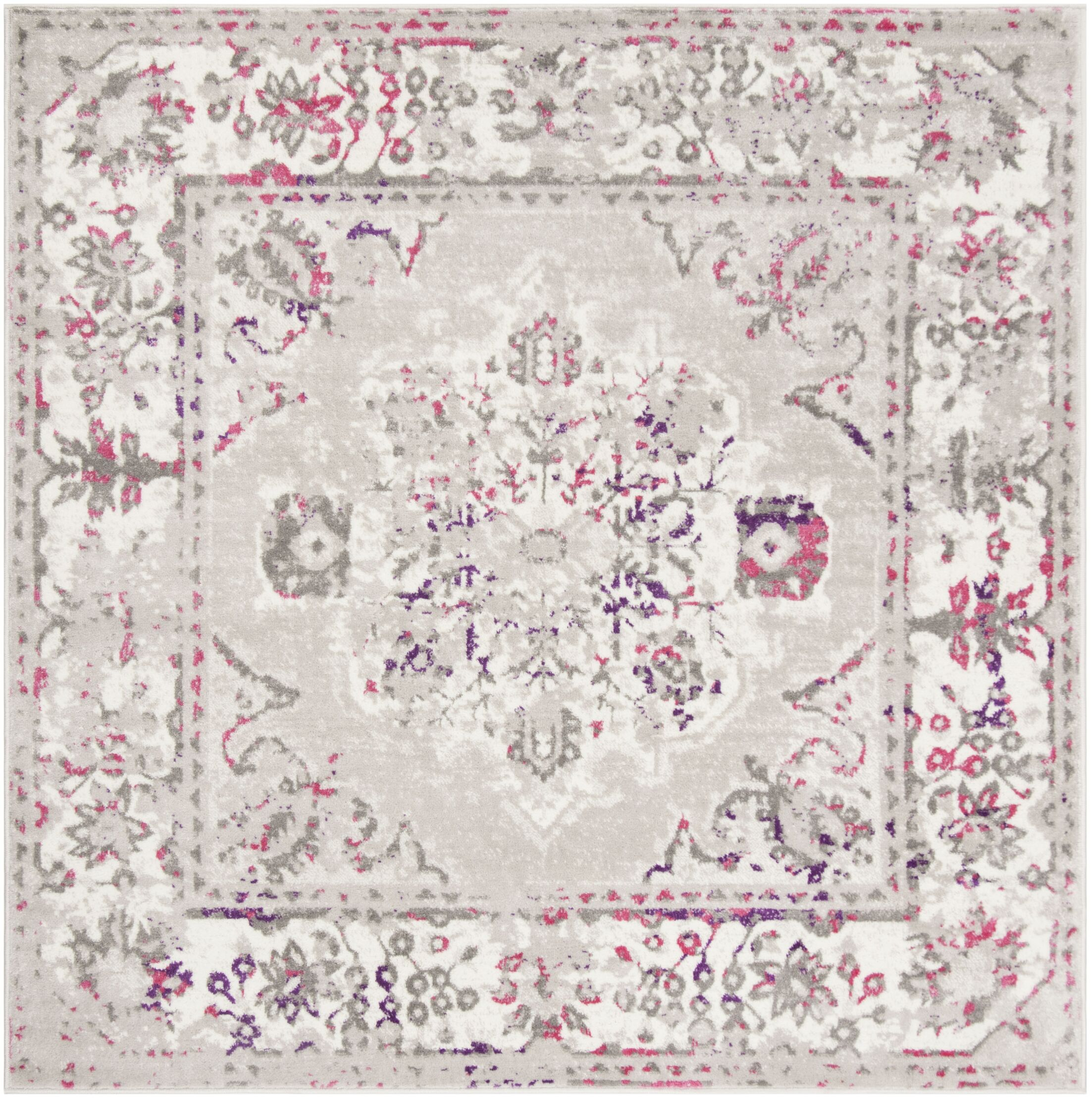 Doty Gray/Pink Area Rug Rug Size: Square 6'7