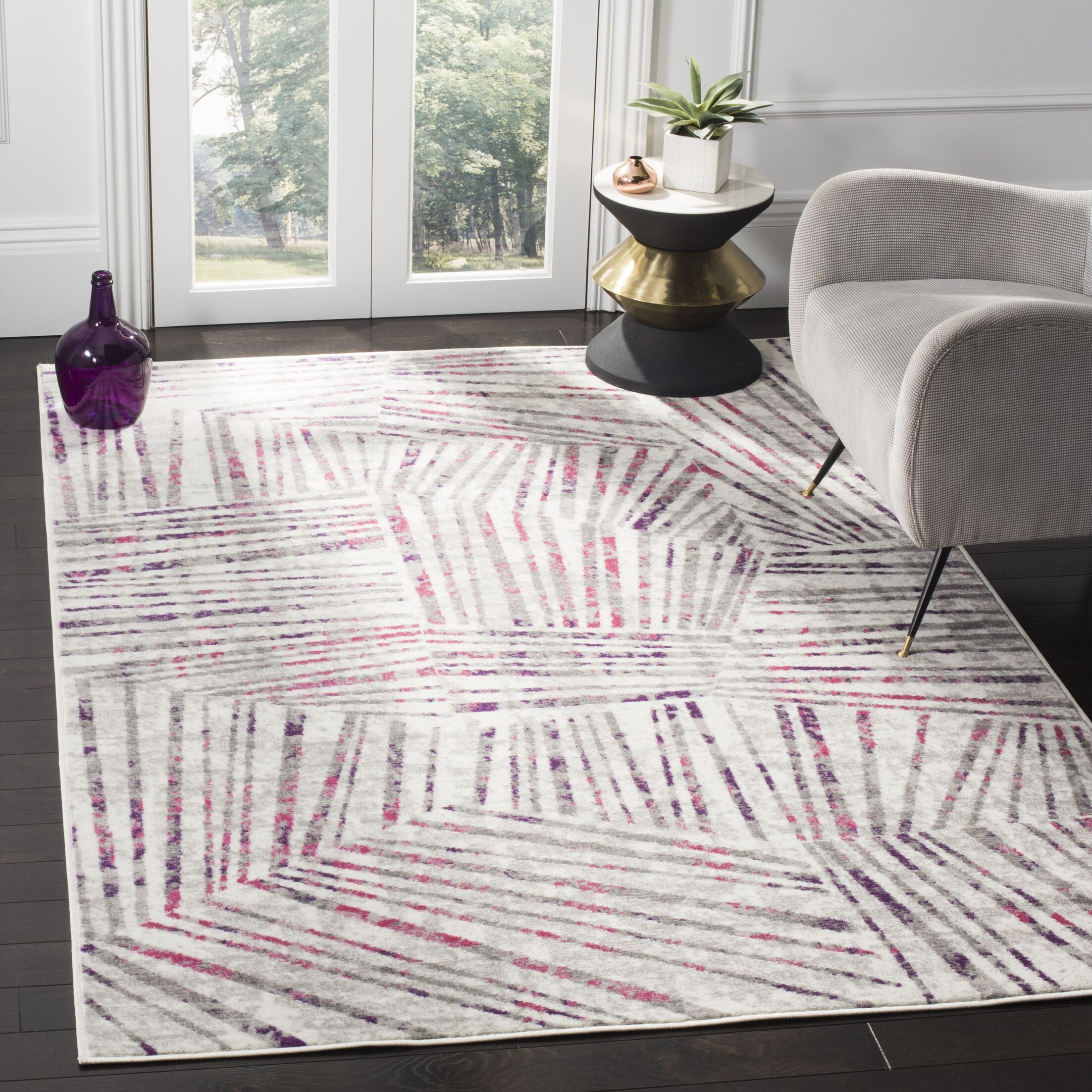 Cosner Gray/Pink Area Rug Rug Size: Rectangle 5'1
