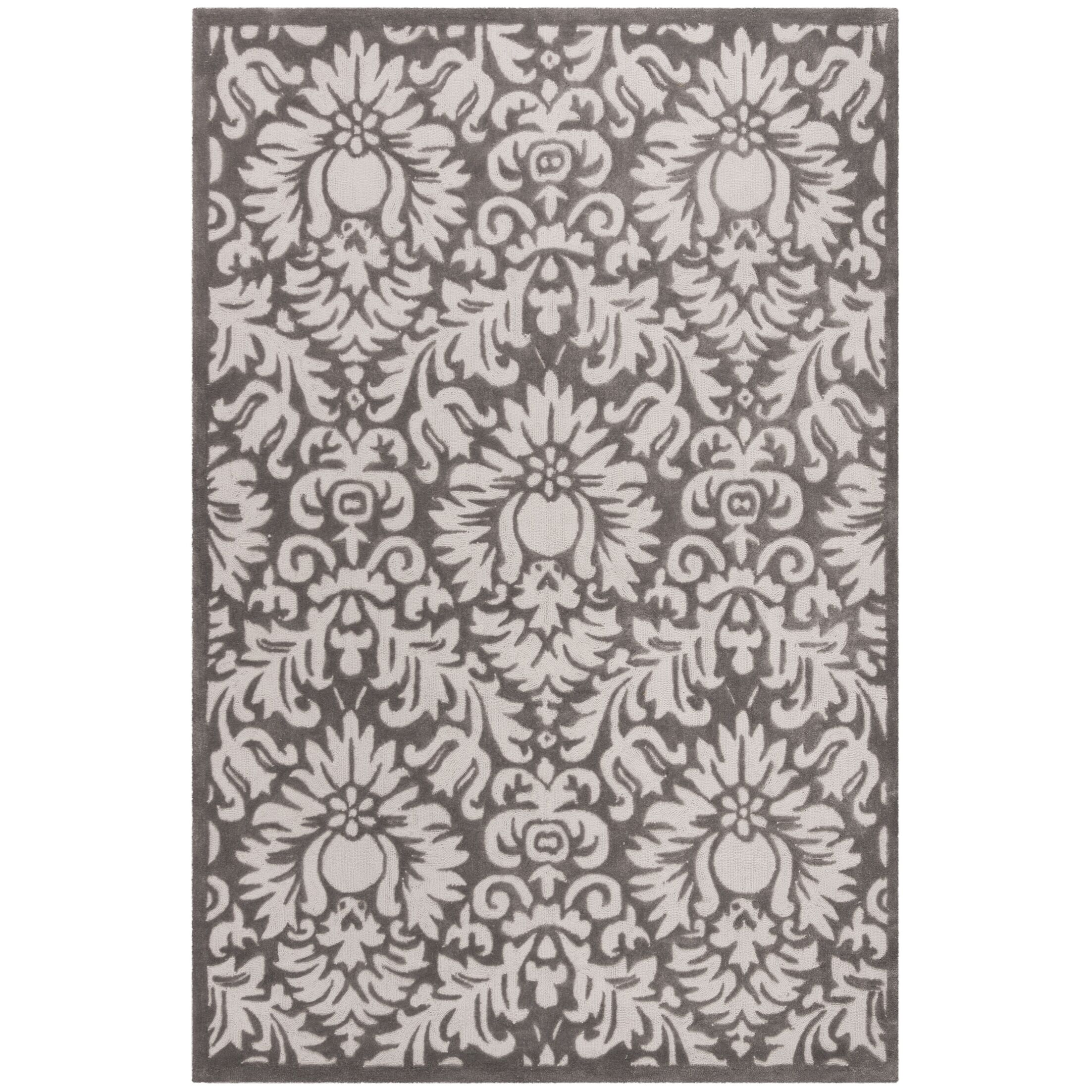 Kingsview Hand-Hooked Gray/Beige Area Rug Rug Size: Rectangle 3' x 5'