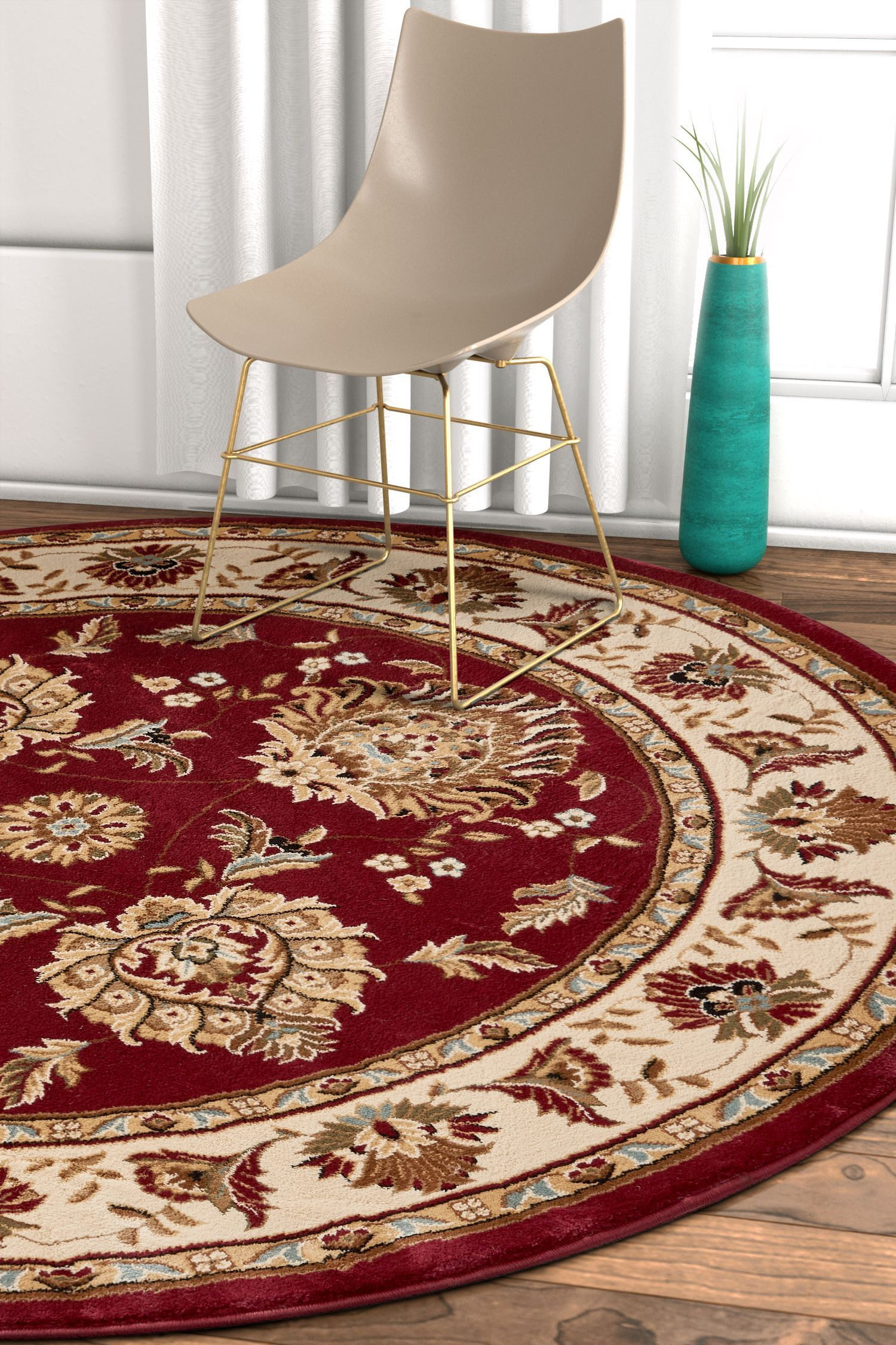 Pickett Red/Beige Area Rug Rug Size: Round 5'3