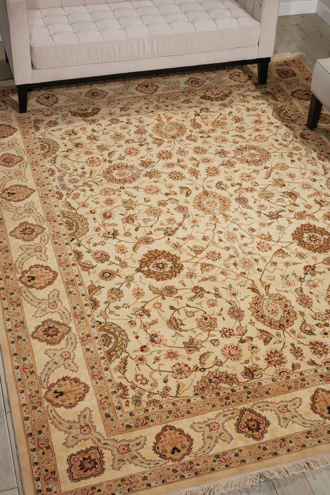 Dunluce Hand-Knotted Wool Beige Area Rug