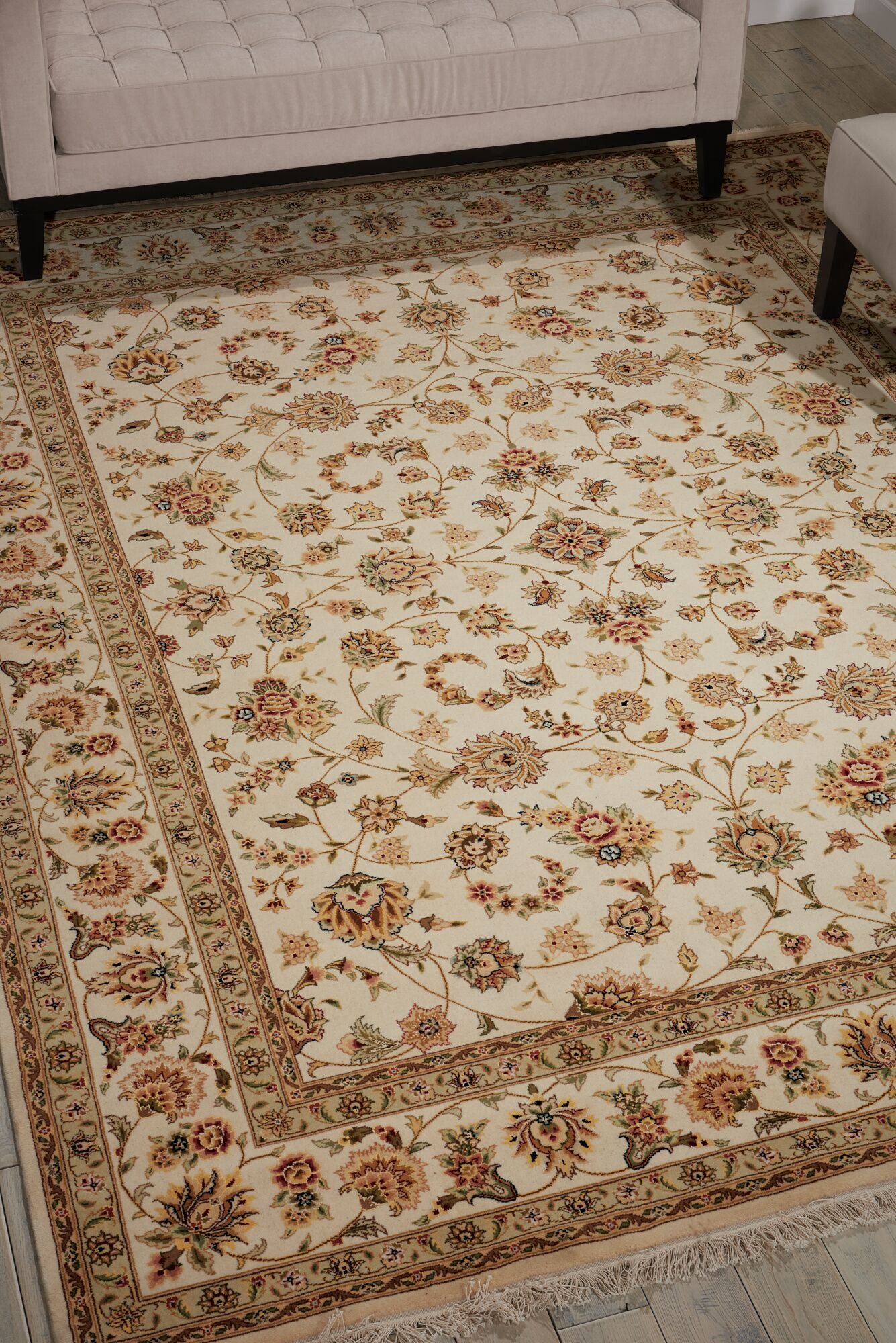 Dunluce Hand-Knotted Wool Ivory/Beige  Area Rug Rug Size: Rectangle 8'6