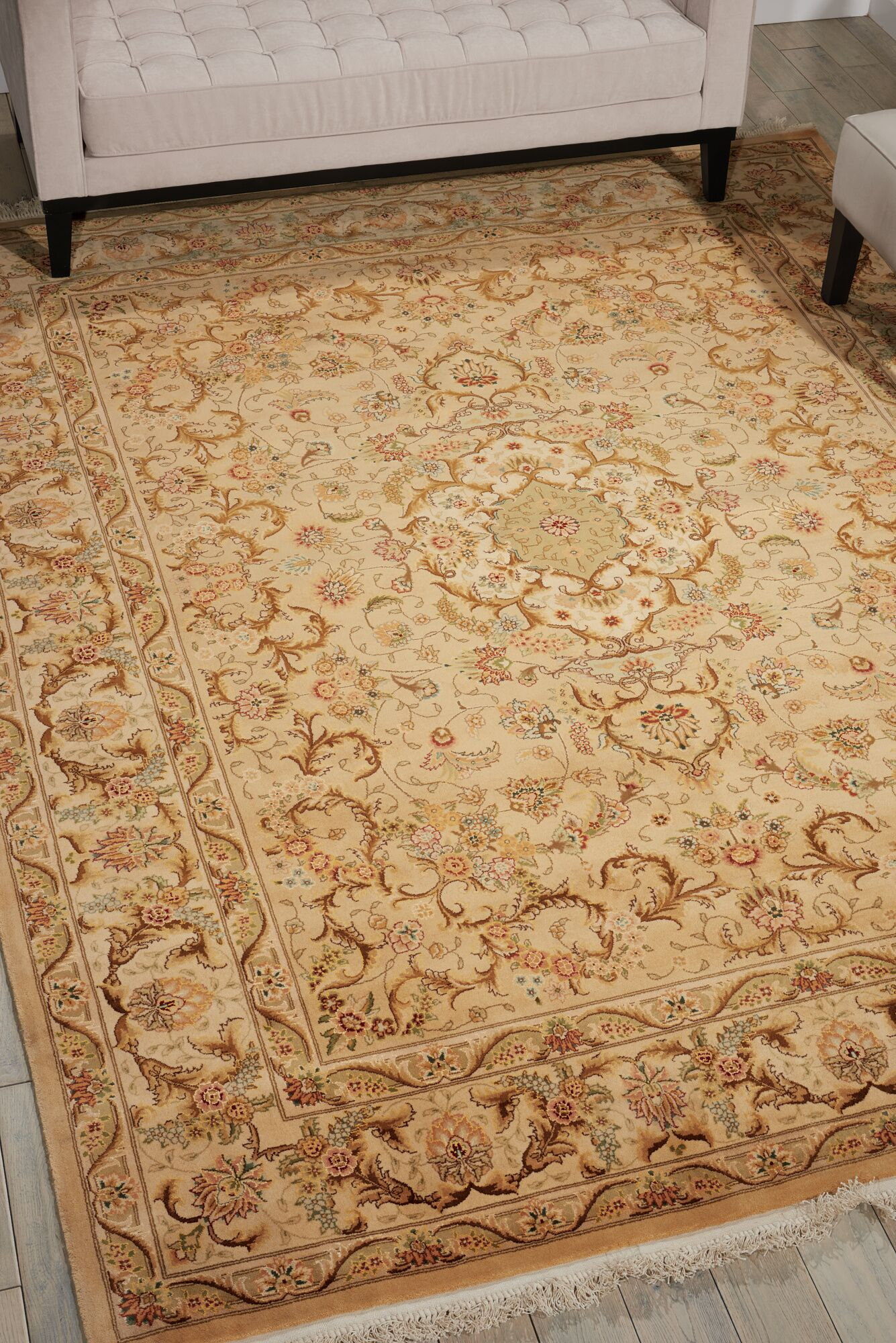Dunluce Hand-Knotted Wool Beige Area Rug Rug Size: Retangle 7'9