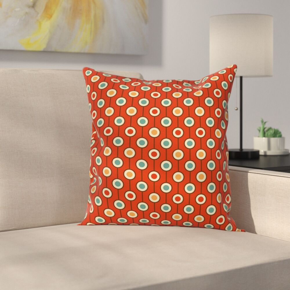 60s Style Hippie Dots Cushion Pillow Cover Size: 24