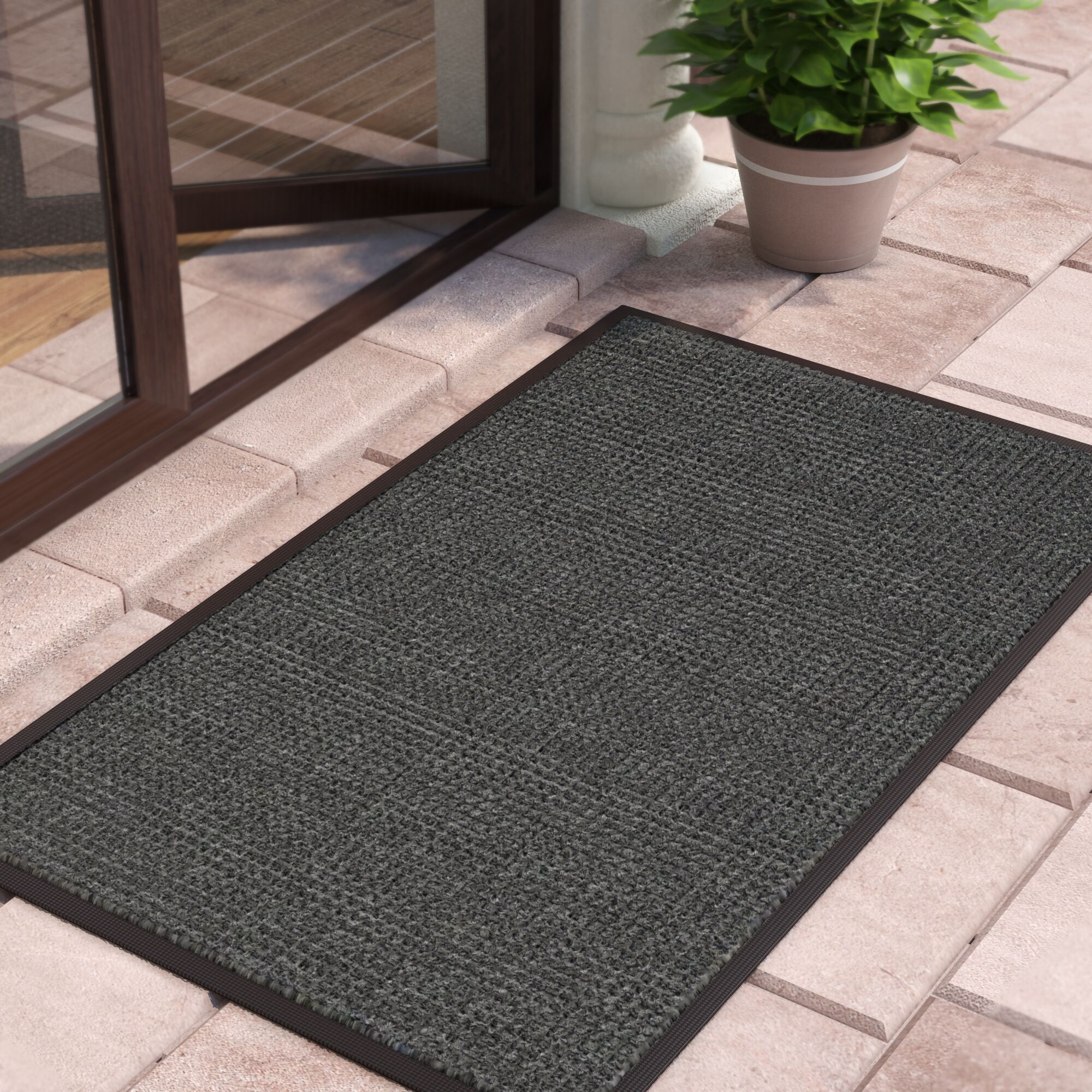 Solid Doormat Mat Size: Rectangle 3'x10', Color: Charcoal