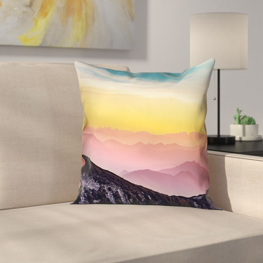 Thang Pastel Mountain Landscape Double Sided Print Square Pillow Cover Size: 26