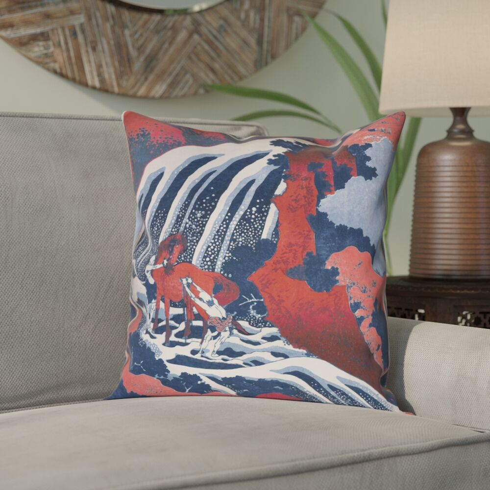 Channelle Horse and Waterfall Throw pillow Size: 18