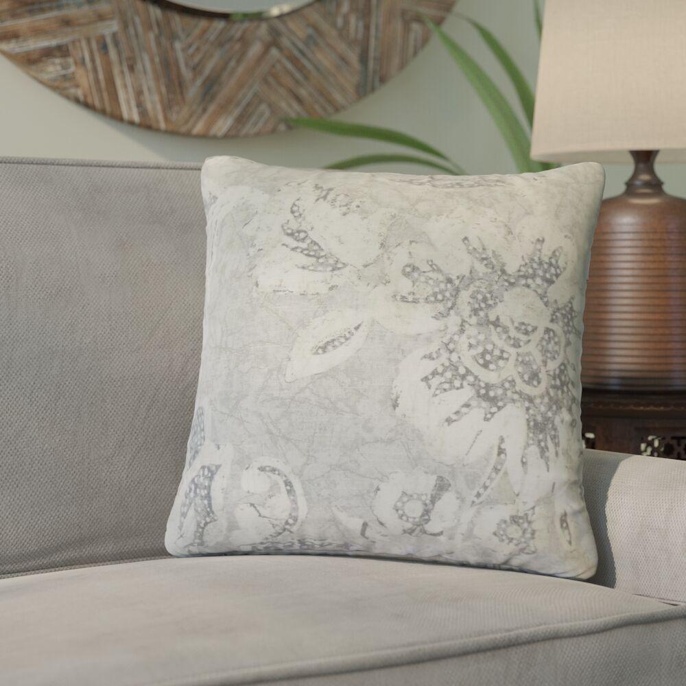 Cadena Floral Cotton Throw Pillow Color: Gray