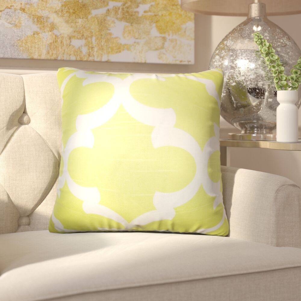 Chitwood Geometric Cotton Throw Pillow Color: Light Green