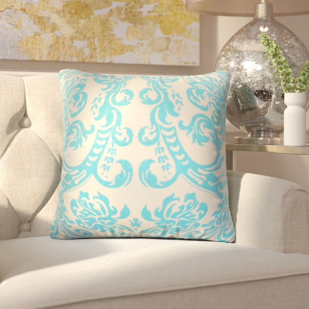 Chessani Damask Cotton Throw Pillow Color: Mandarin Blue