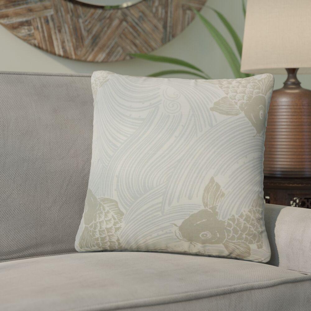 Yuriko Graphic Cotton Throw Pillow Color: Mist