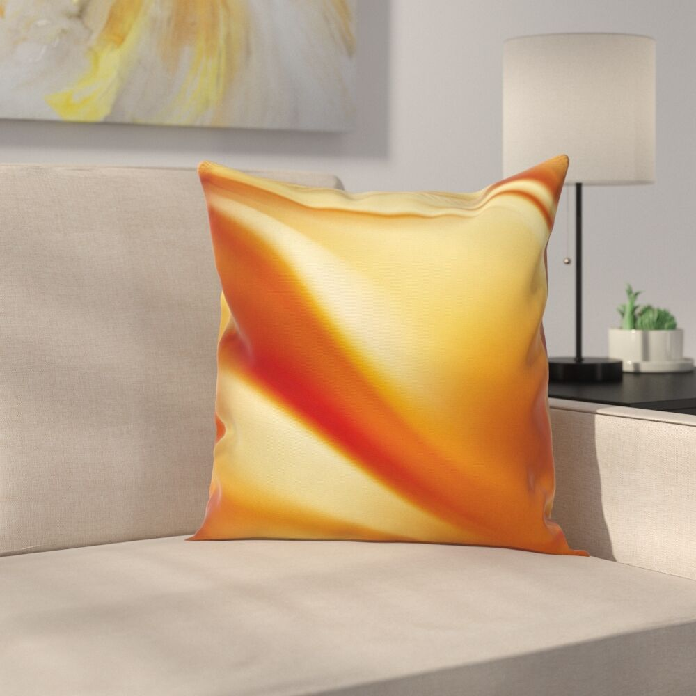 Wavy Colors Curves Square Pillow Cover Size: 16