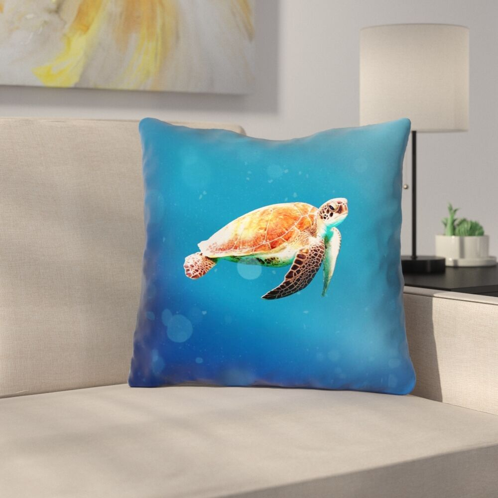 Sea Turtle Double Sided Print Throw Pillow Size: 16