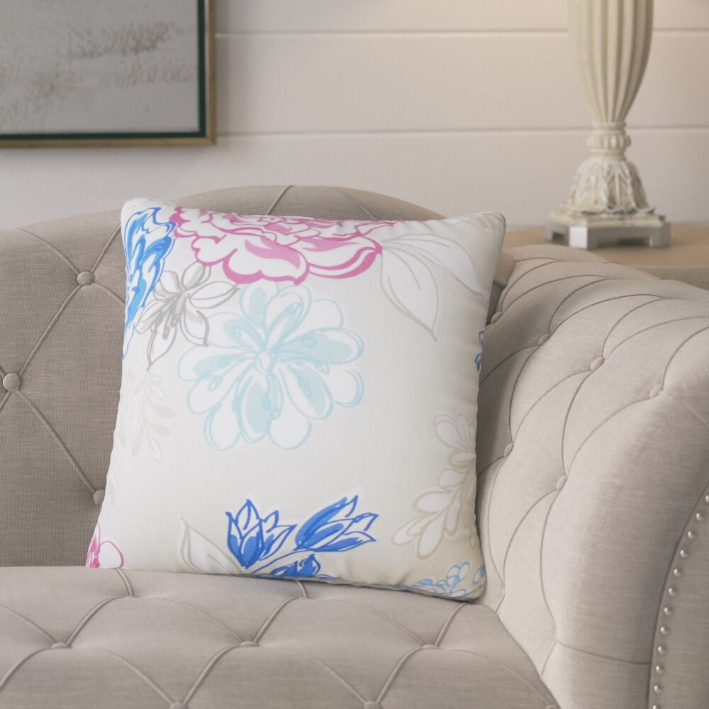Goodrich Floral Down Filled 100% Cotton Throw Pillow Size: 22