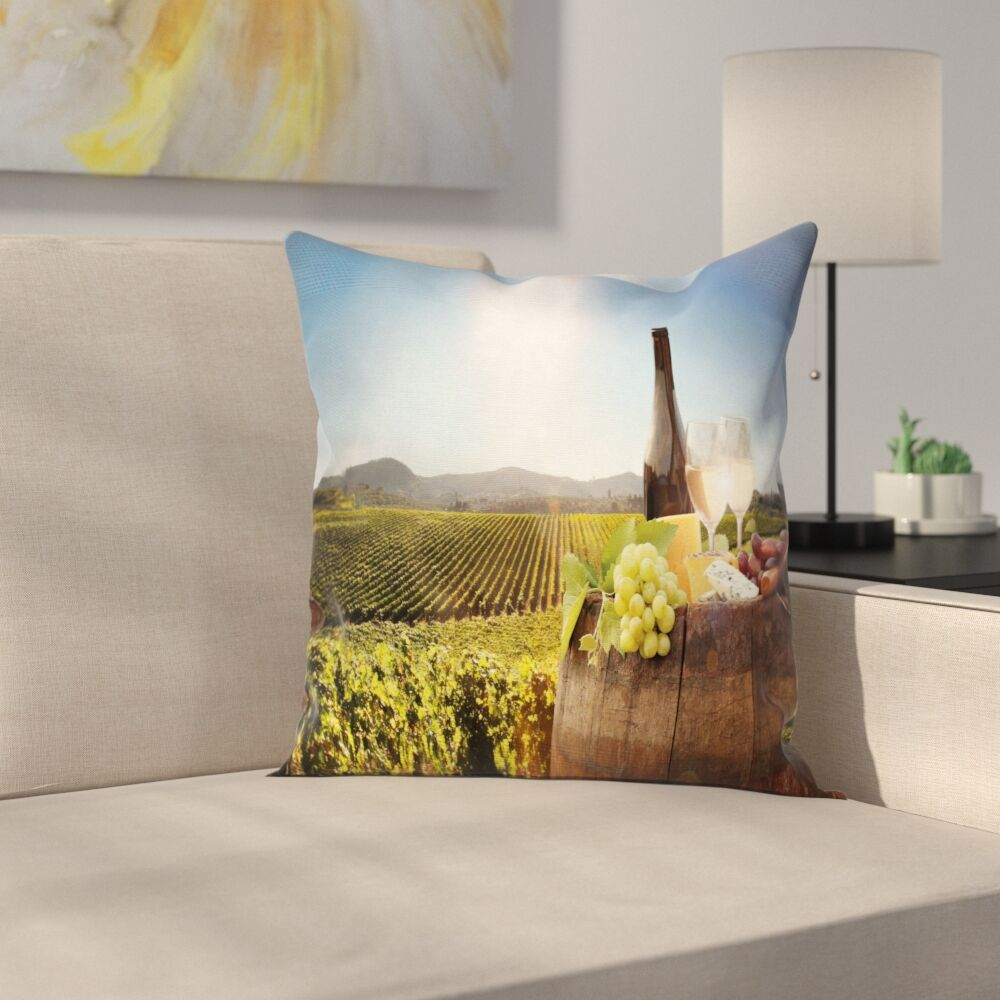 Wine Famous Chianti Vineyard Square Pillow Cover Size: 16