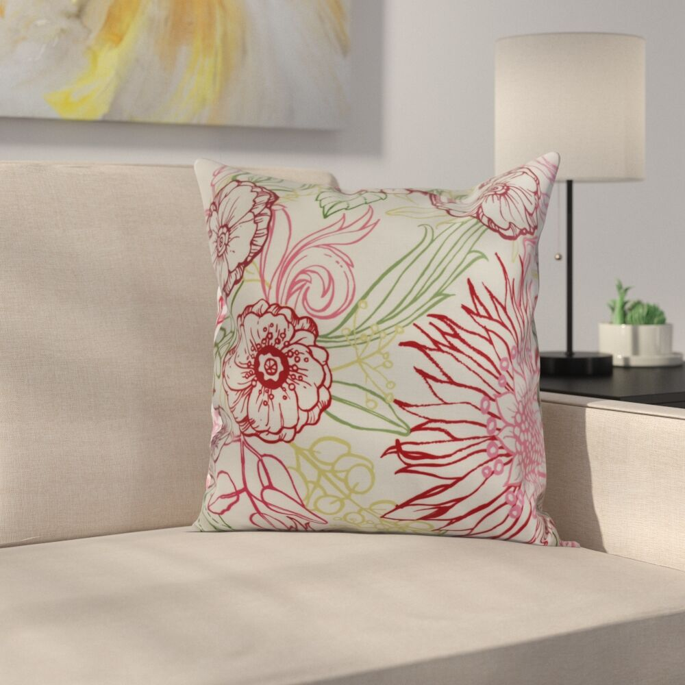 Derick Floral Print Throw Pillow Color: Red, Size: 20