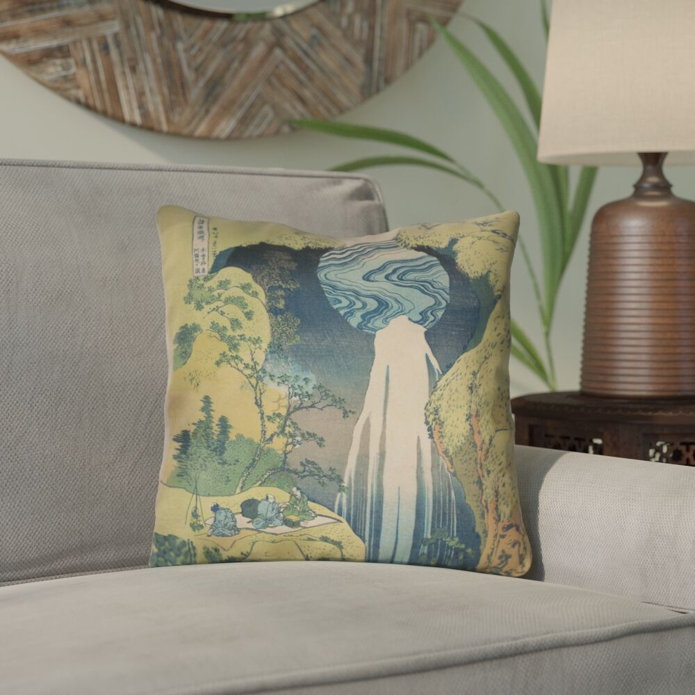 Rinan Japanese Waterfall Outdoor Throw Pillow Size: 20