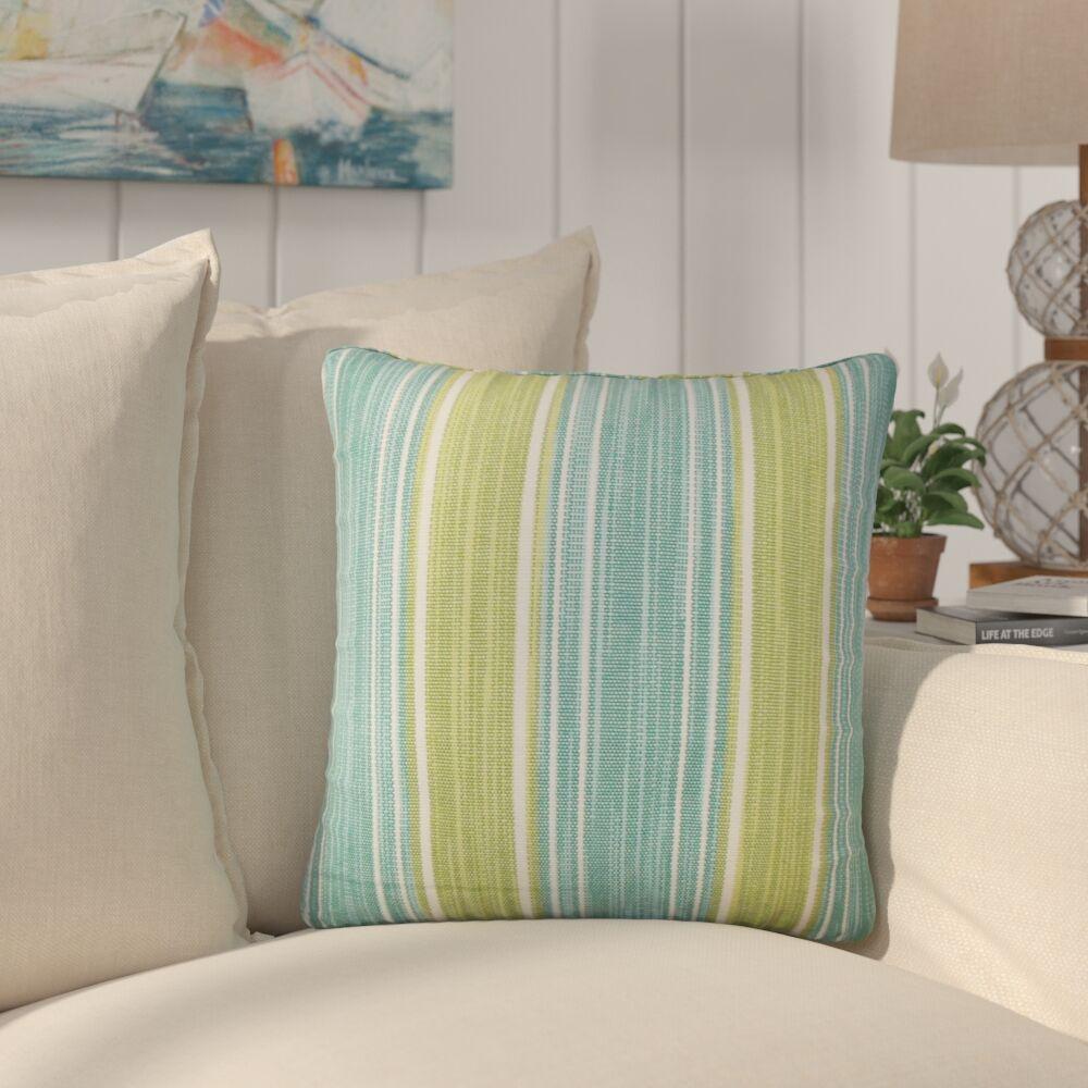 Min Stripes Cotton Throw Pillow Color: Aqua Green