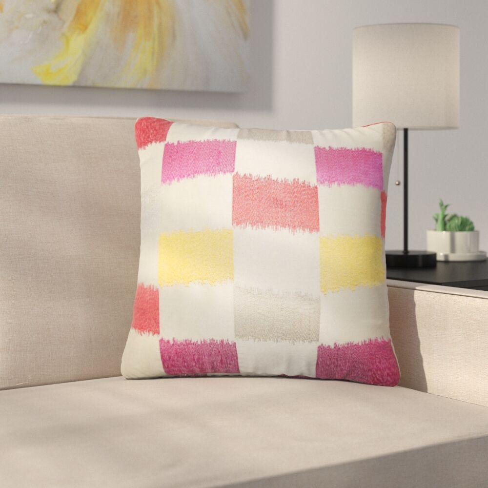 Rowen Geometric Throw Pillow Color: Flame