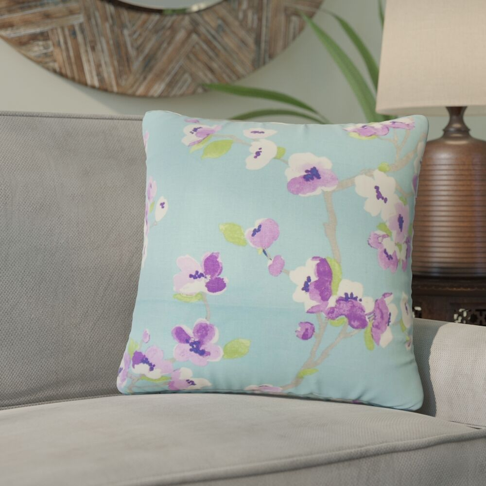Arnot Floral Throw Pillow Color: Turquoise