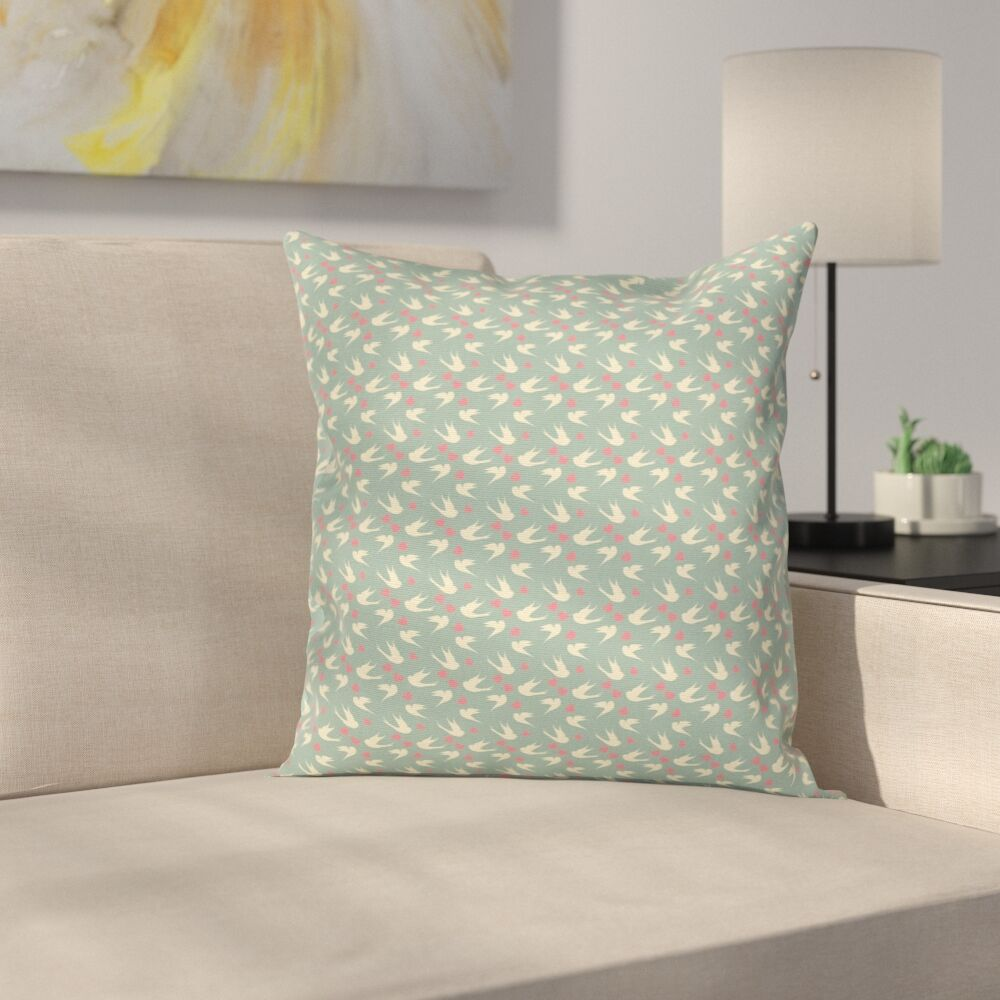 Birds Little Hearts Cushion Pillow Cover Size: 16