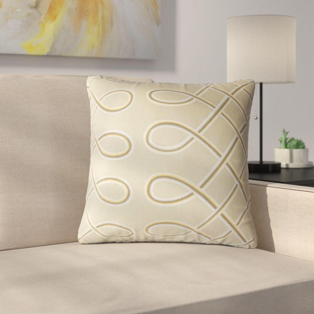 Goshorn Geometric Cotton Throw Pillow Color: Tan