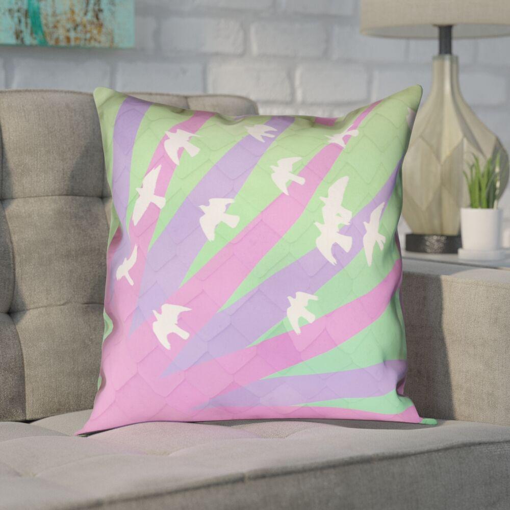Enciso Birds and Sun Zipper Pillow Cover Size: 20
