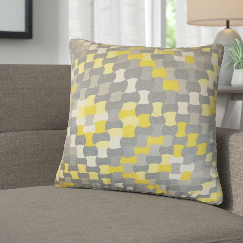 Alaya Geometric Cotton Throw Pillow Color: Canary