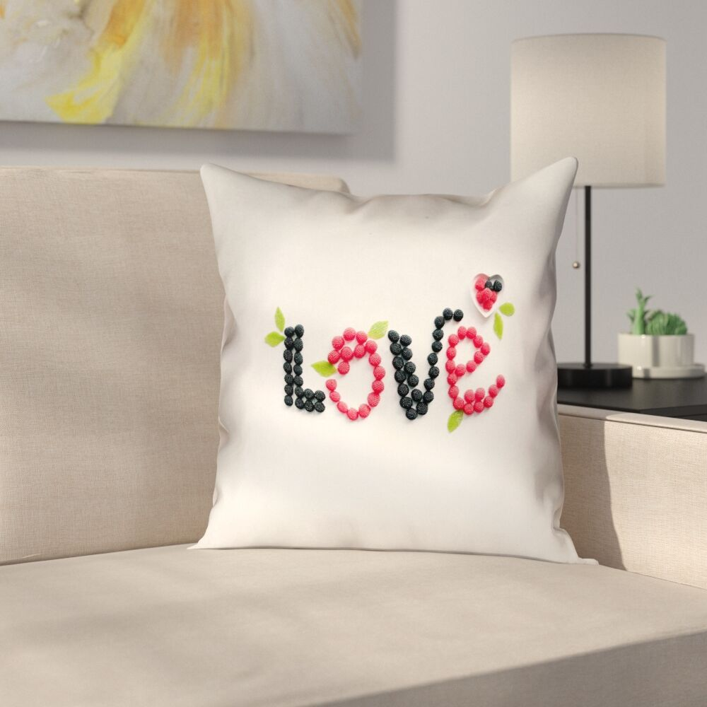 Buoi Love and Berries Square Linen Double Sided Print Pillow Cover Size: 20