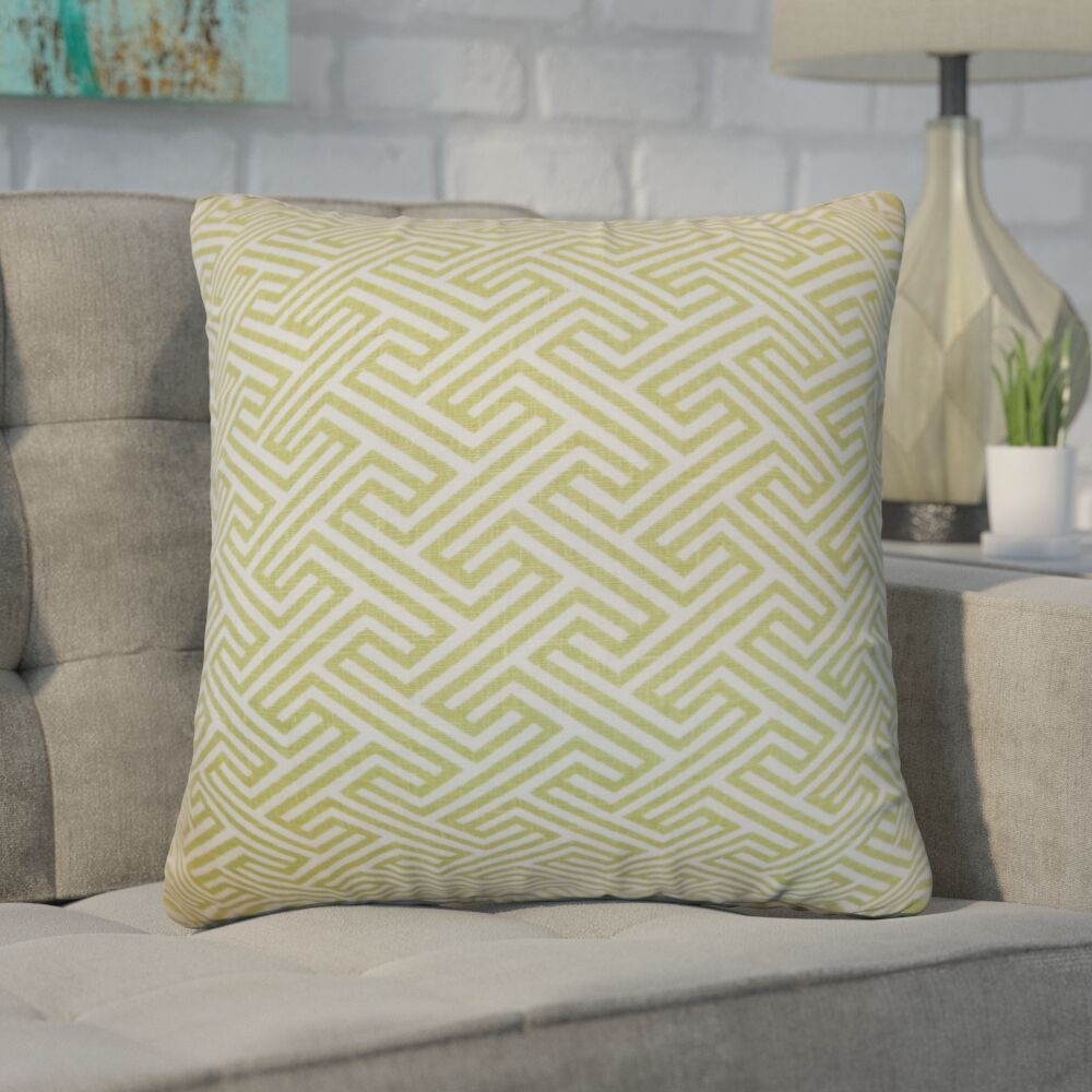 Kibler Cotton Throw Pillow Color: Leaf, Size: 22