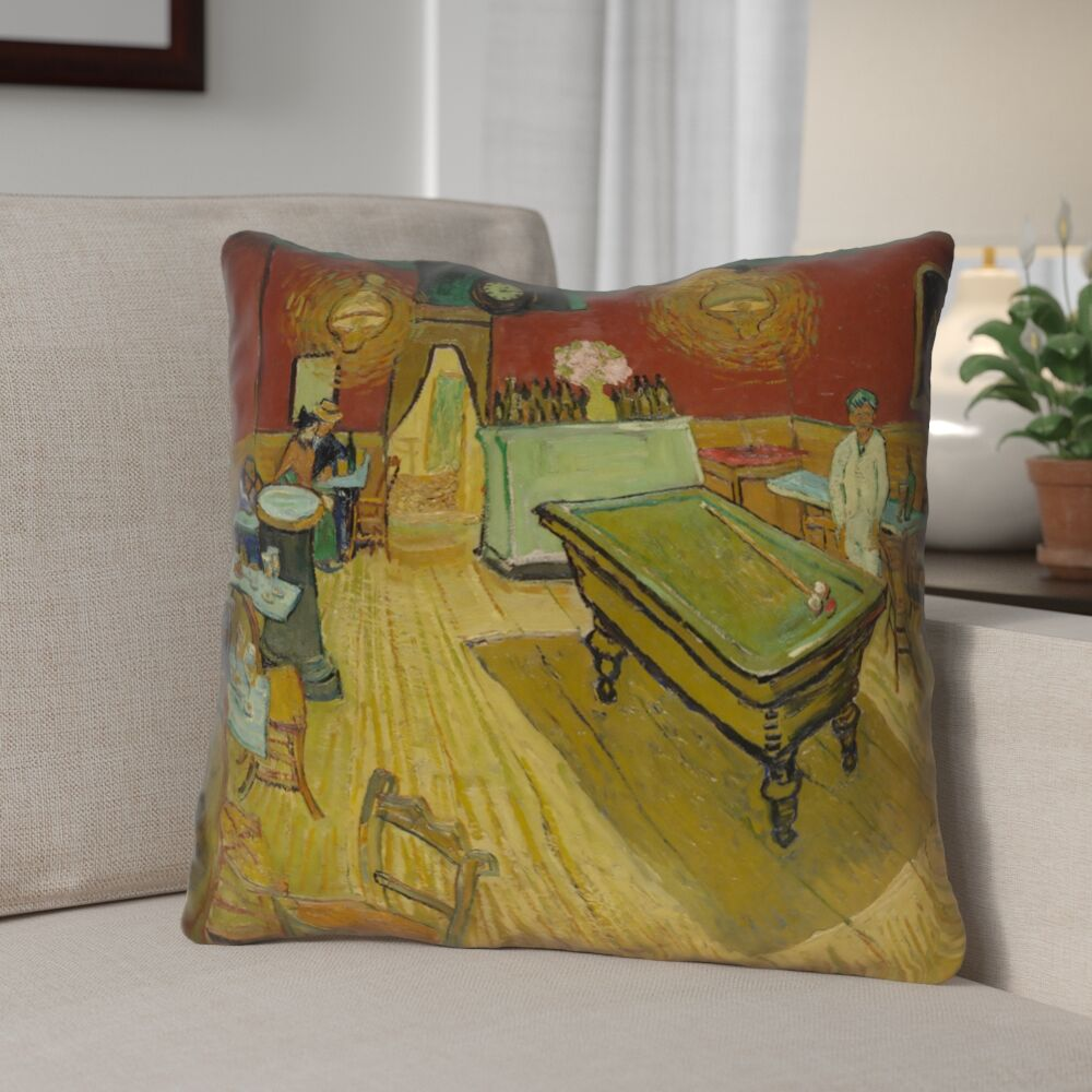 Burdick The Night Cafe Square Zipper Throw Pillow Size: 16