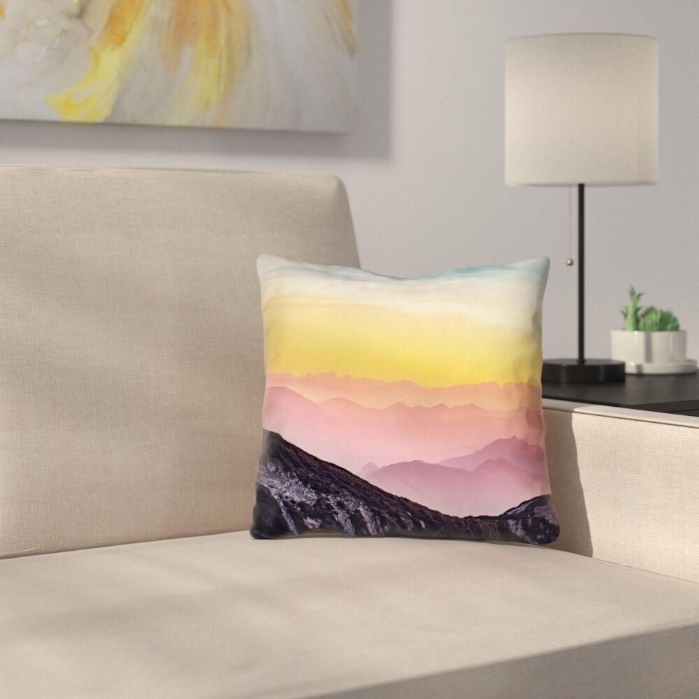 Thang Pastel Landscape Double Sided Print Square Pillow Cover Size: 16