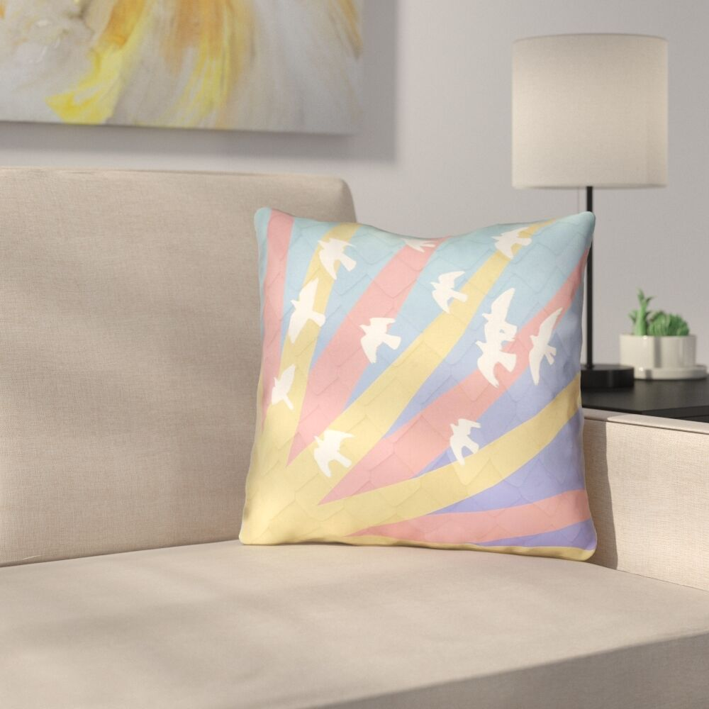 Kalie Birds and Sun Outdoor Throw Pillow Size: 20
