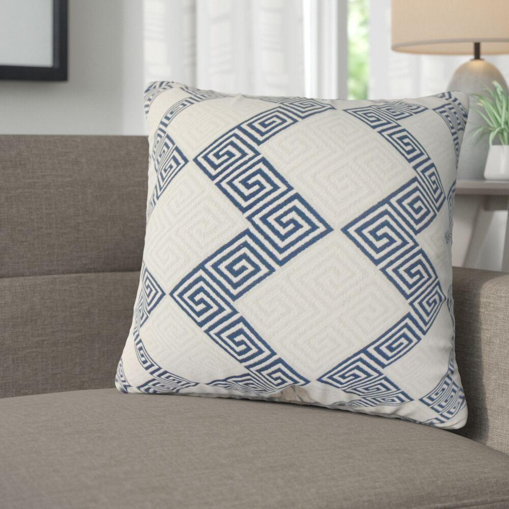 Mara Geometric Cotton Throw Pillow Color: Indigo