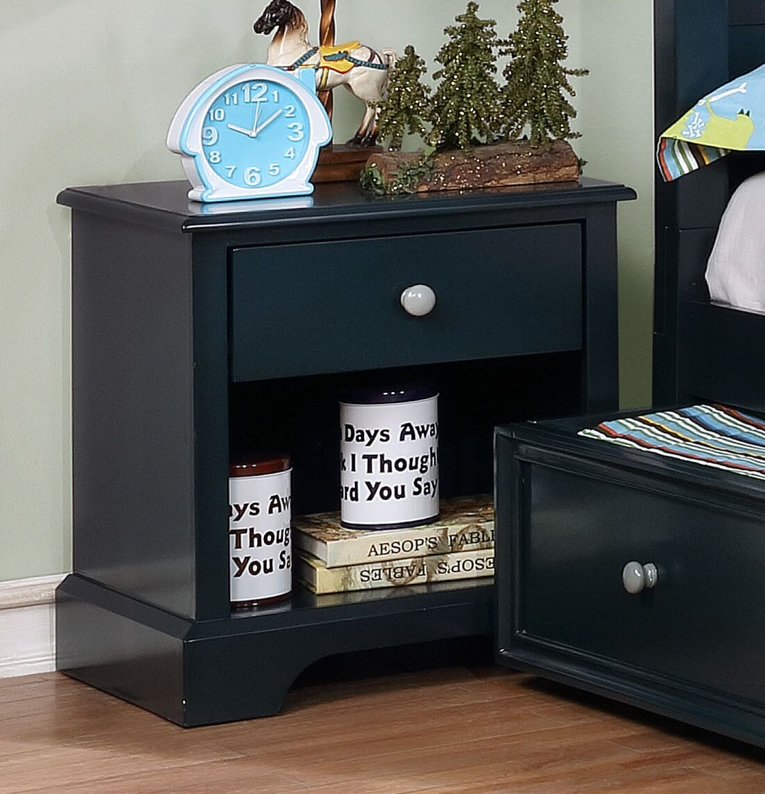 Evanoff 1 Drawer Nightstand Color: Blue