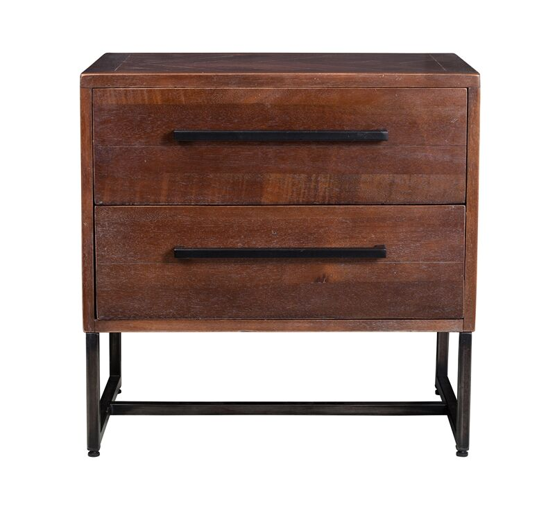 Connelly Herringbone Inlay 2 Drawer Nightstand