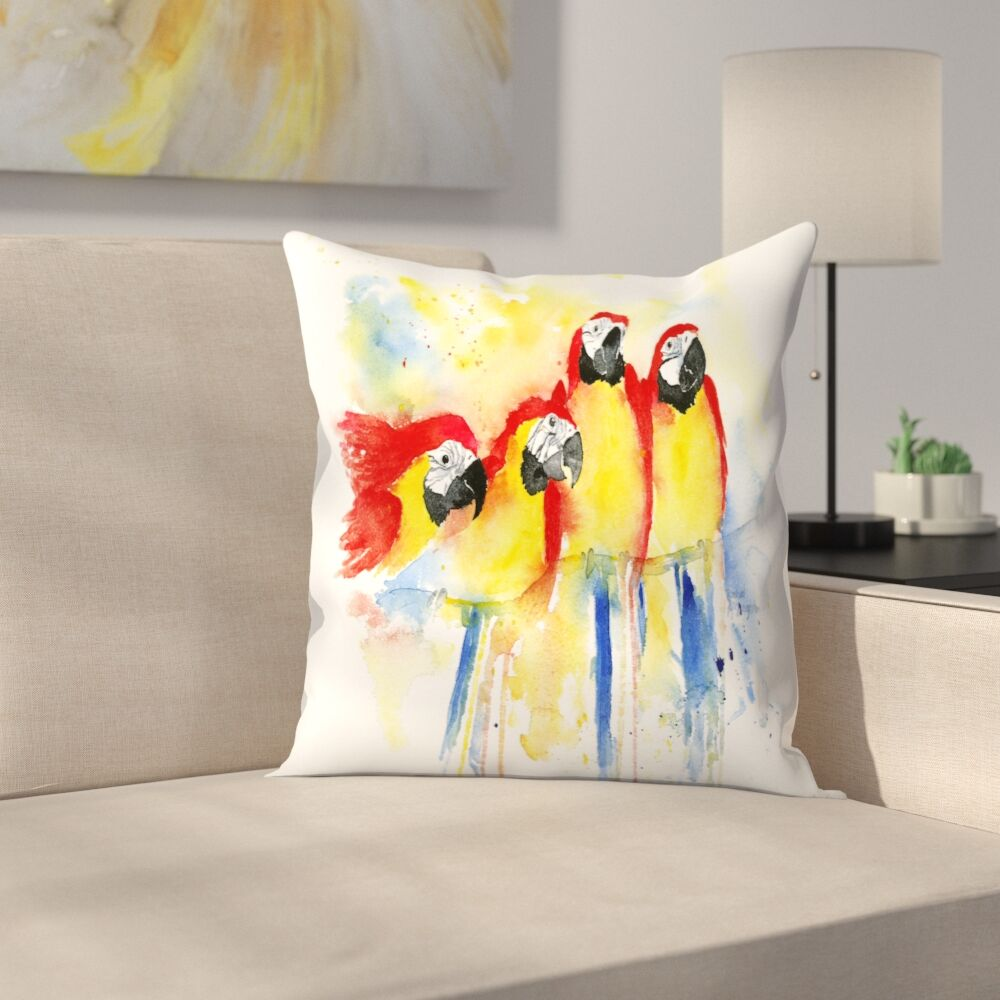 4 Red Macaws Throw Pillow Size: 18