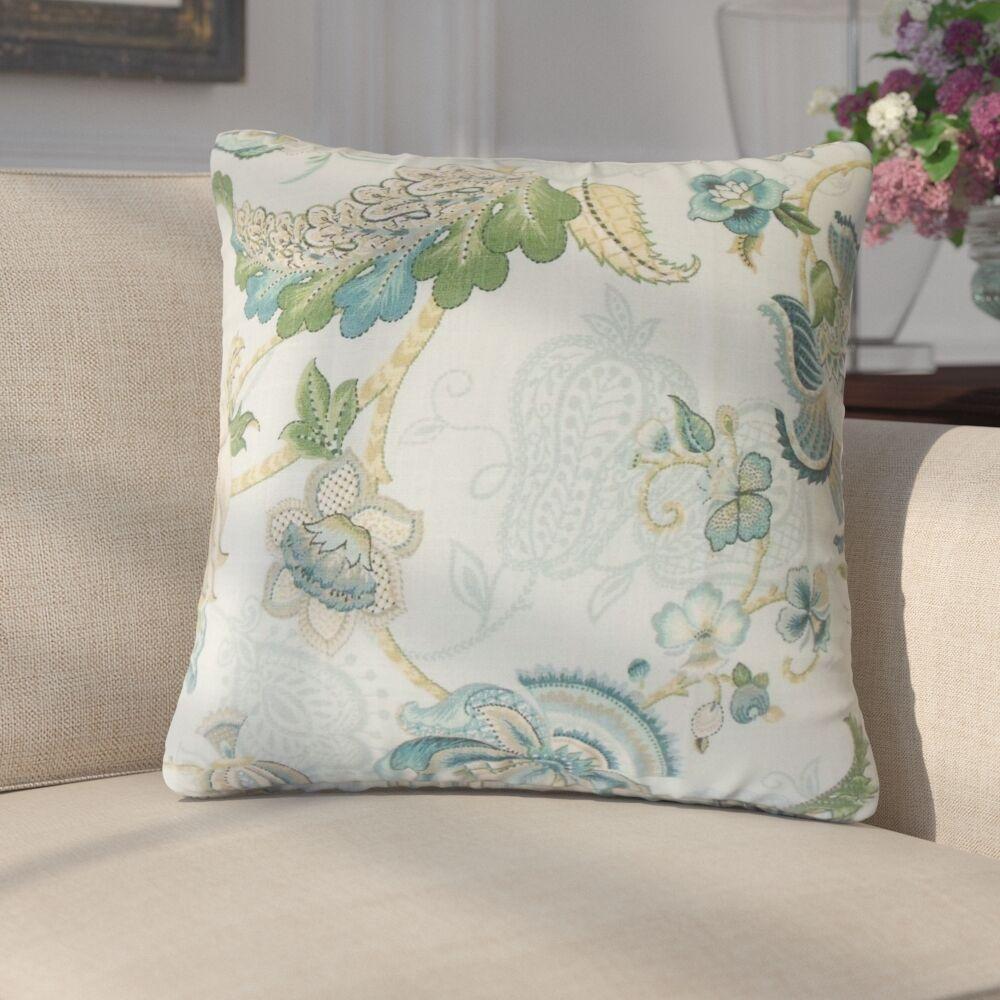 Guilaine Floral Linen Throw Pillow Color: Aqua/Green