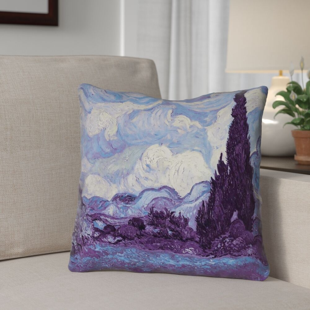 Morley Wheat Field with Cypresses Throw Pillow Size: 18