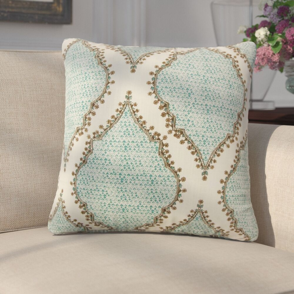 Ilario Ikat Cotton Throw Pillow Color: Peacock