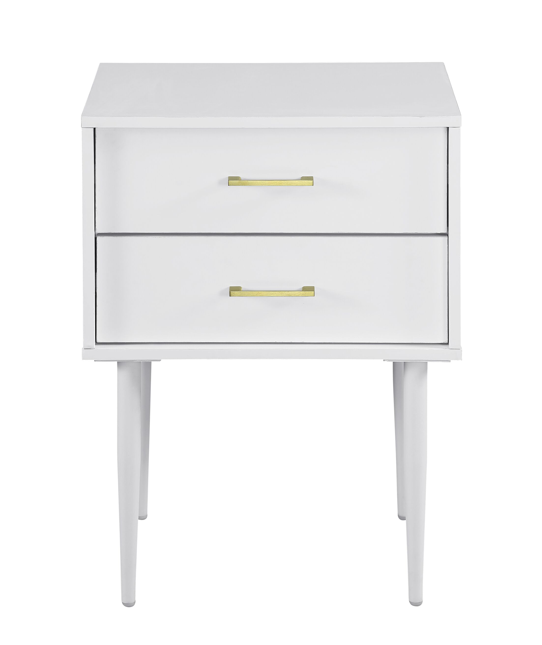 Winningham 2 Drawer End Table with Storage Color: White