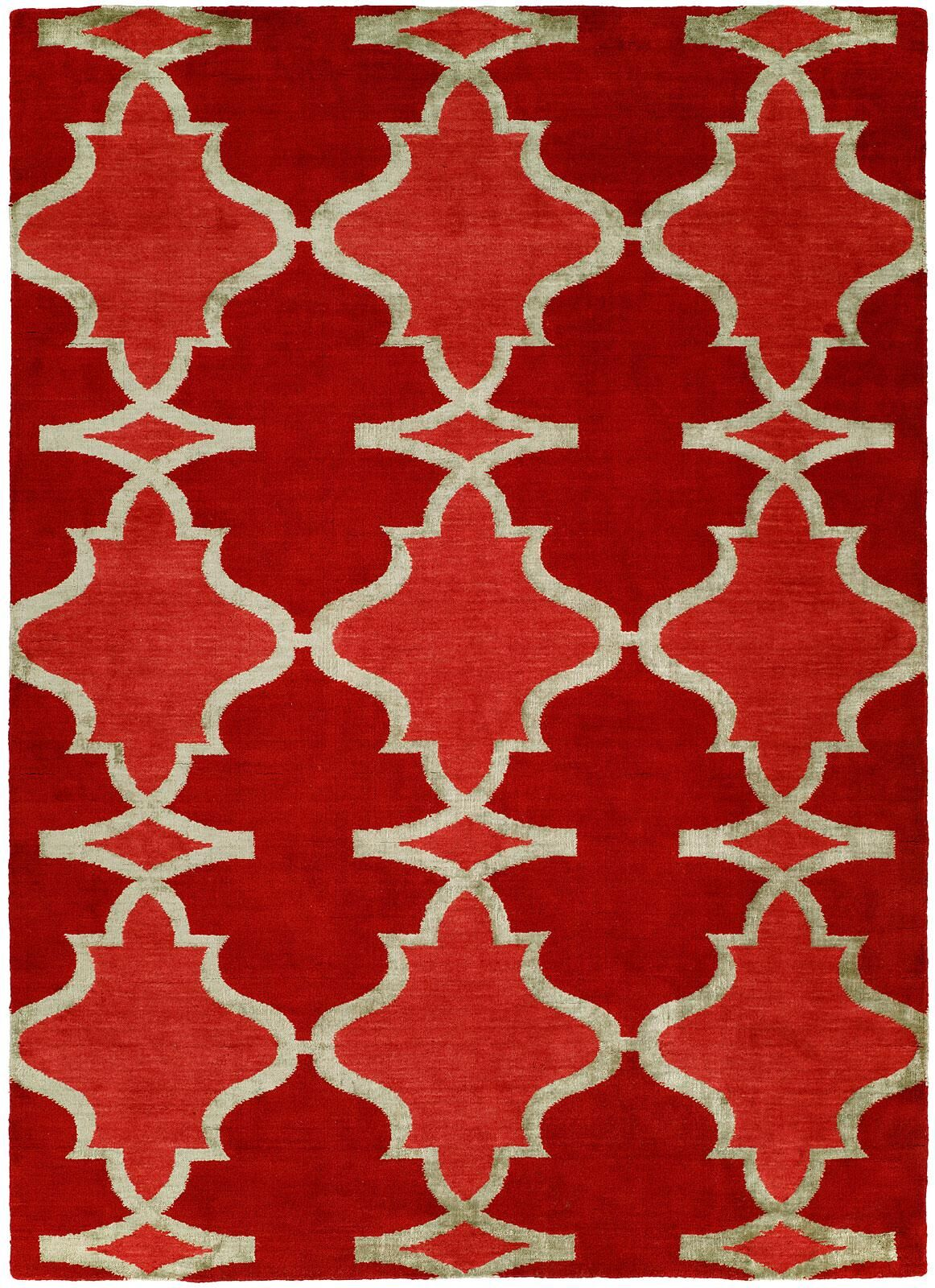 Viraj Hand Knotted Wool Red Area Rug Rug Size: Rectangle 9' x 12'