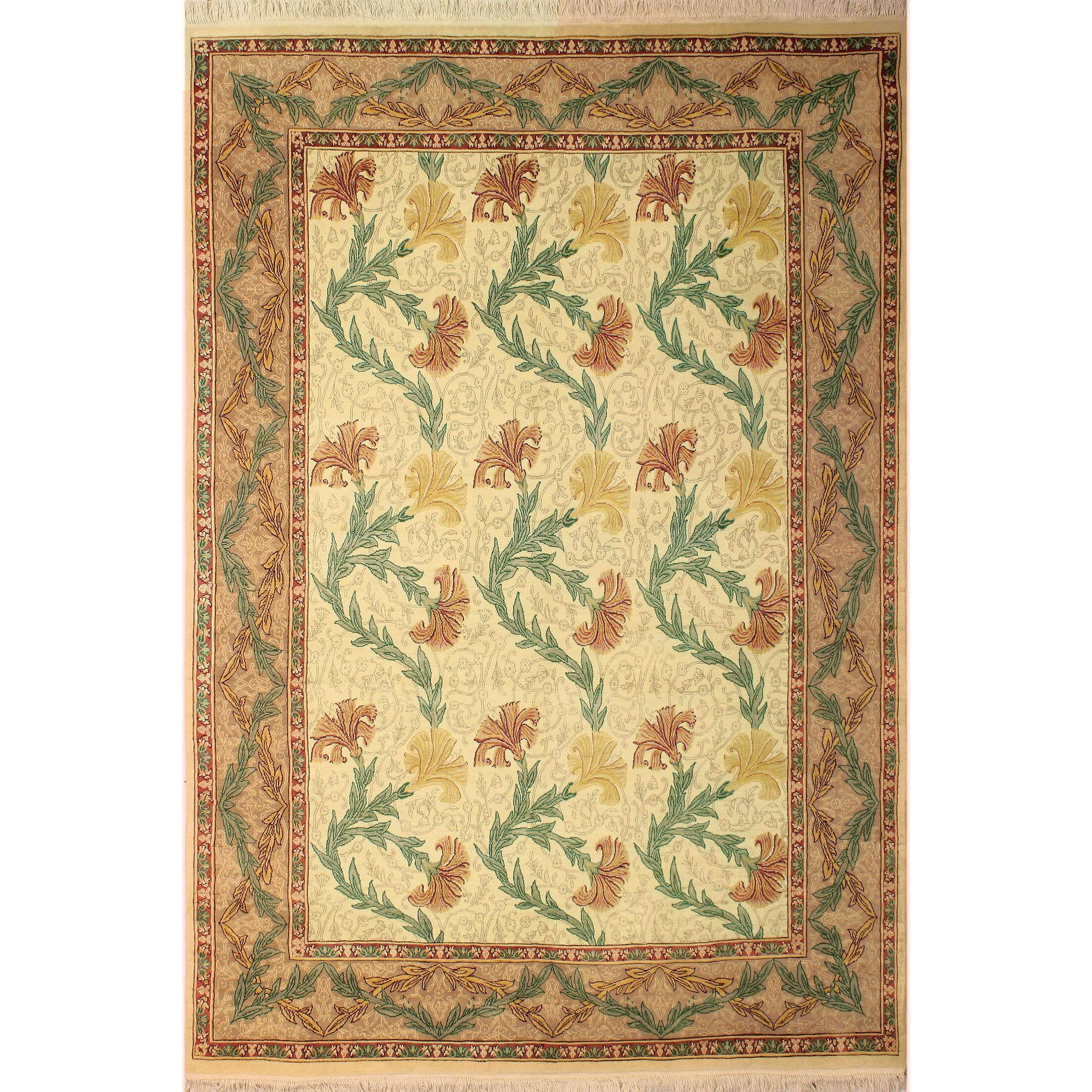 One-of-a-Kind Mulhall Carnation Hand-Knotted Wool Ivory/Tan Area Rug Rug Size: Rectangle 8'1