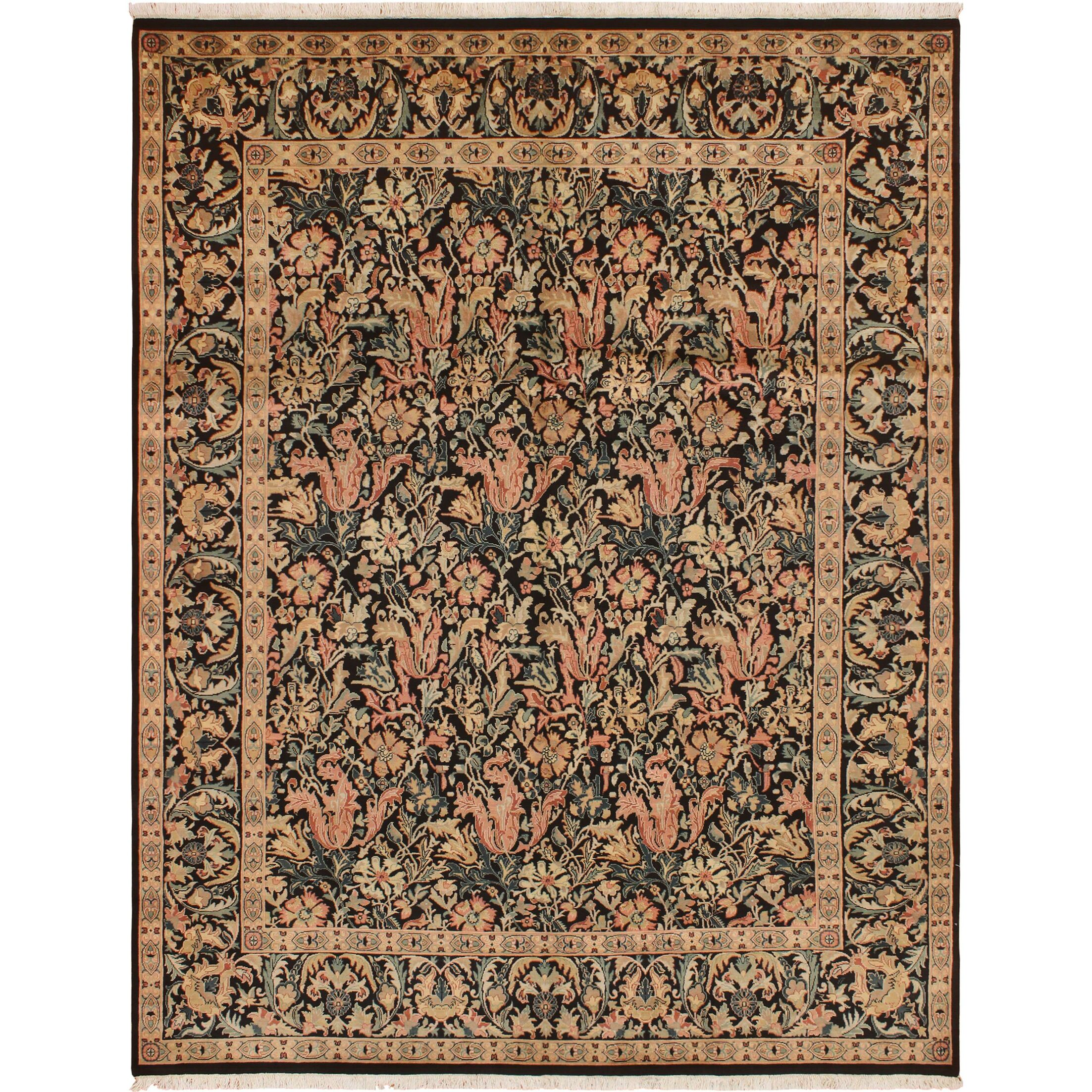 One-of-a-Kind Mulhall Hand-Knotted Wool Black/Pink Area Rug Rug Size: Rectangle 8' x 10'2